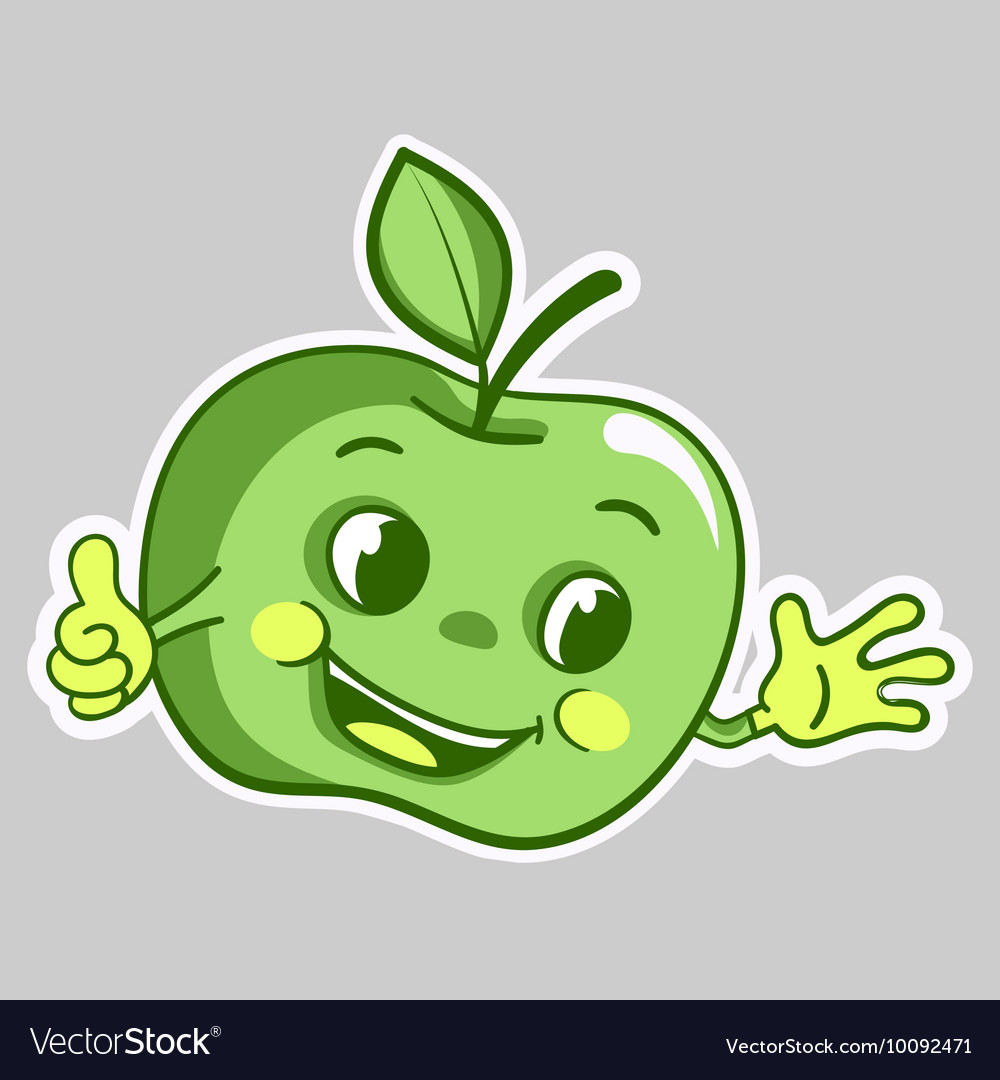 Sticker with cartoon green apple character which