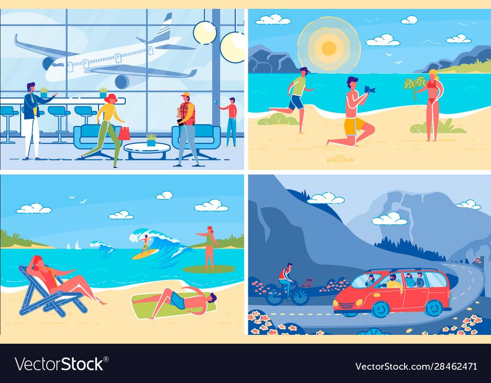 Summer vacation at seashore backgrounds set