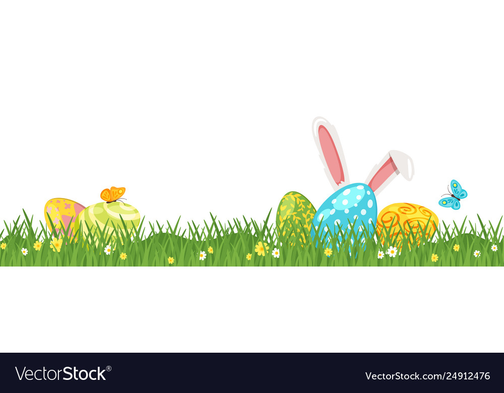 Easter green grass border design