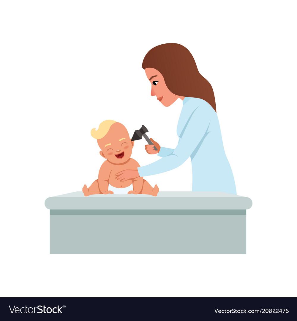 b4edb81cb Female pediatrician in white coat checking infant Vector Image