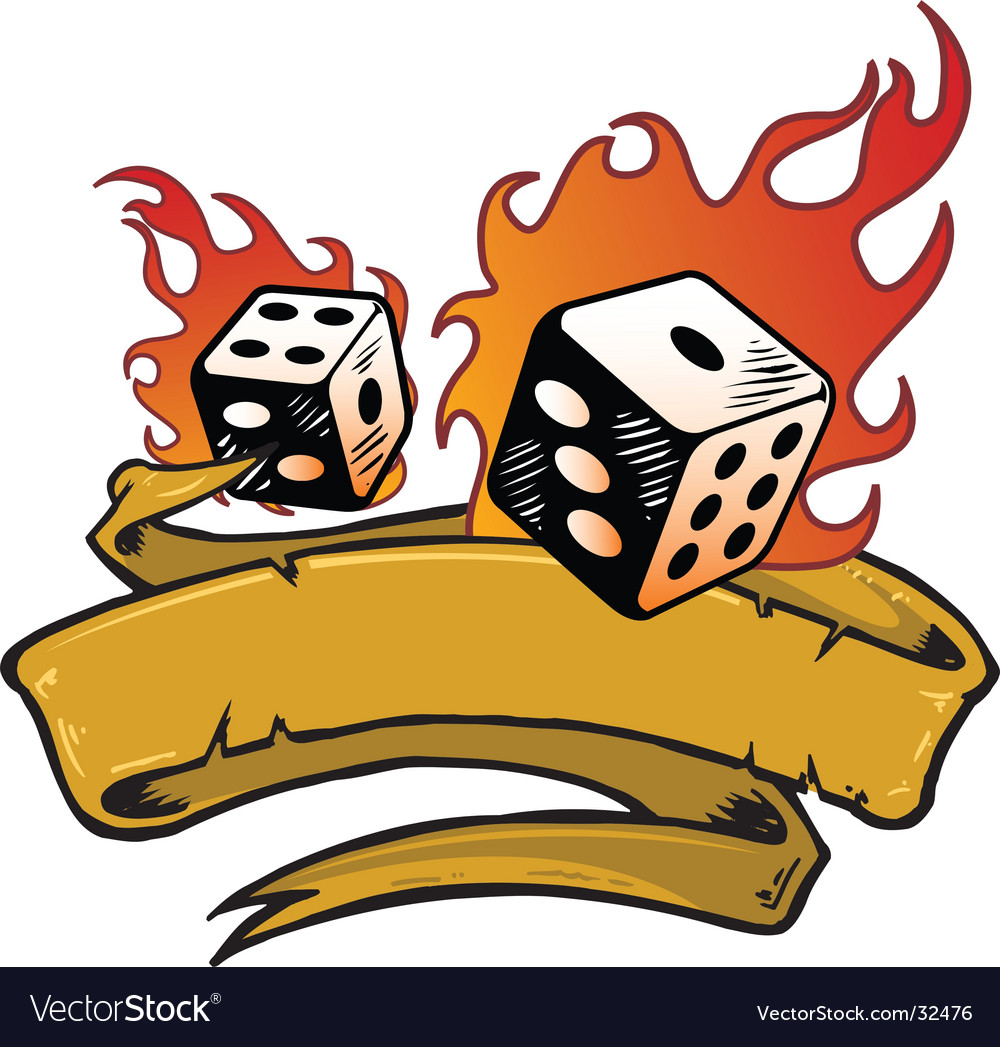 Flaming dice banner