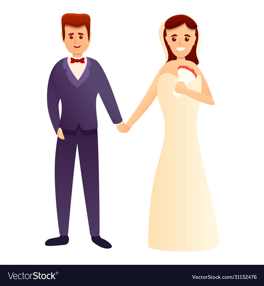 Happy Wedding Couple Icon Cartoon Style Royalty Free Vector