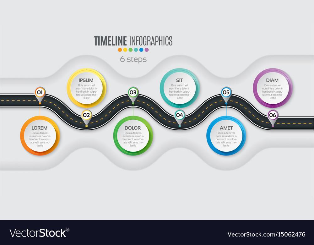 Navigation map infographic 6 steps timeline