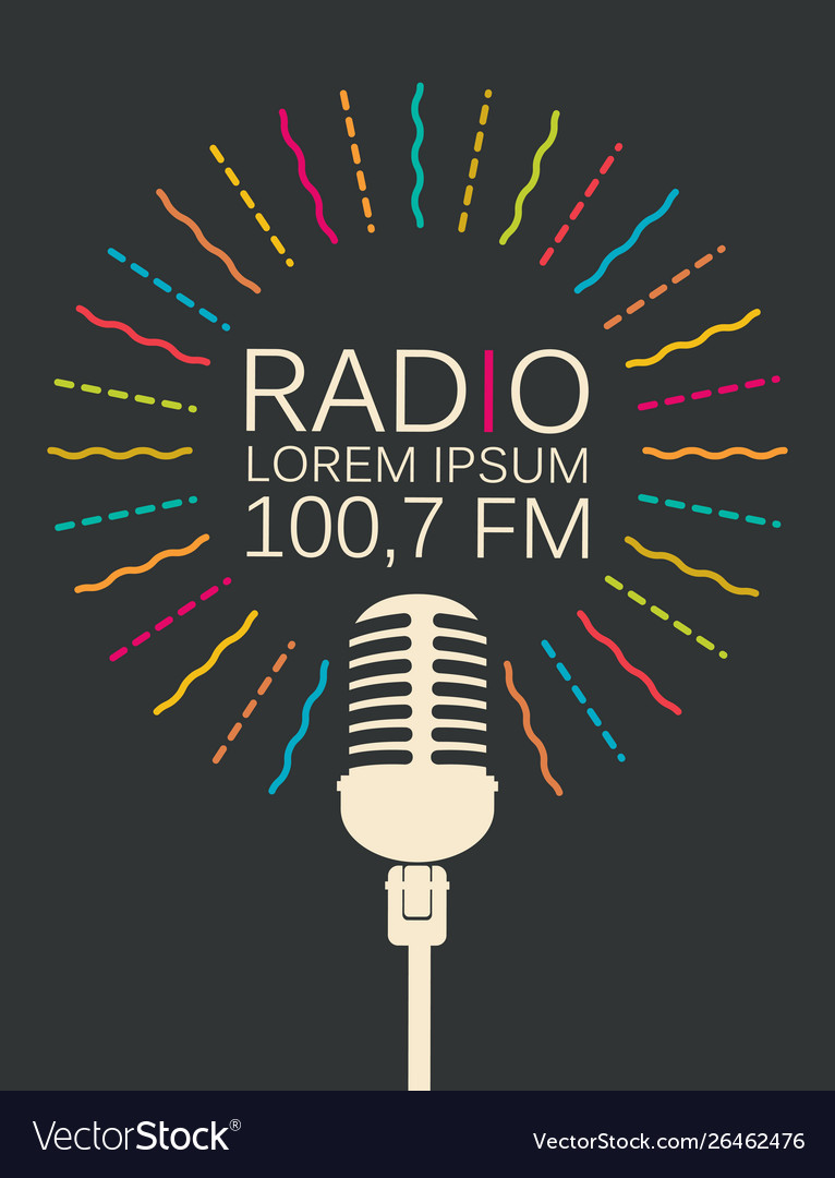 Radio banner with microphone and place for text