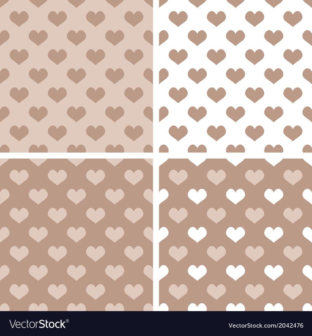 Seamless pastel hearts wallpaper background set