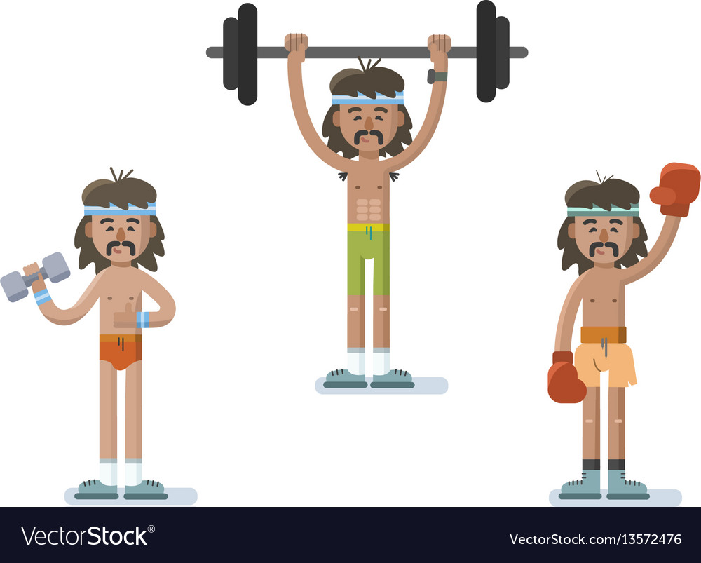 Set Of Funny Cartoon Man Characters Doing Exercise