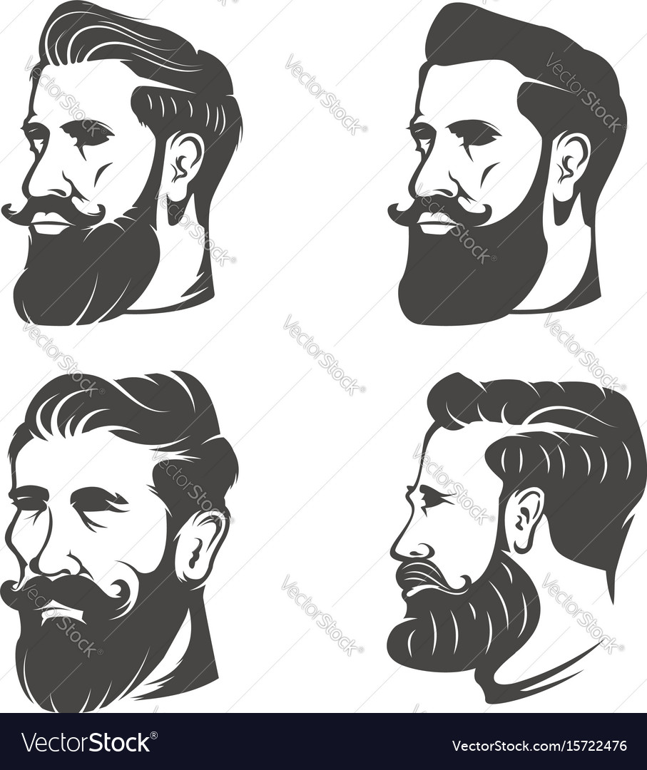 Set of the bearded mans head isolated on white