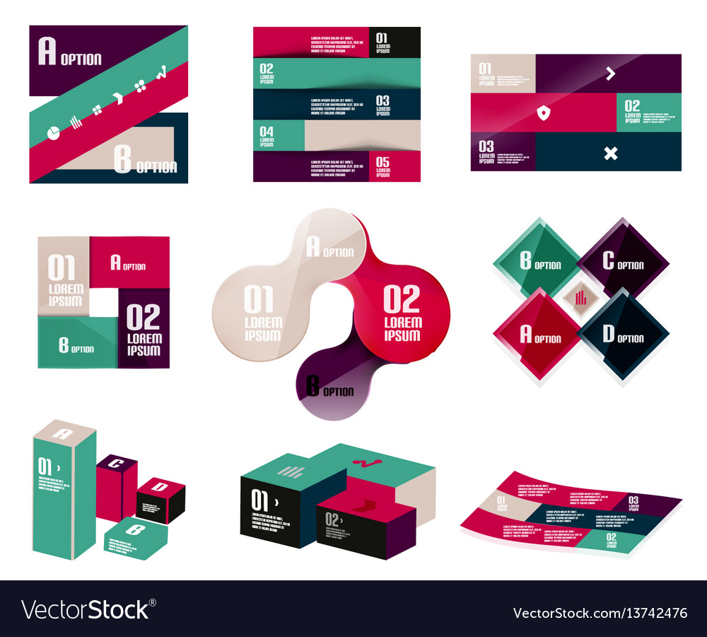 Set of trendy geometrical shaped infographic