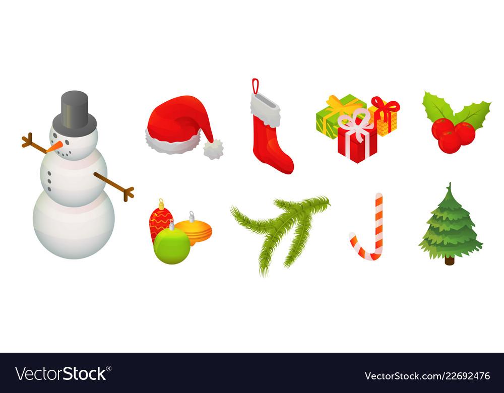 Snowmen christmas icon set isometric style