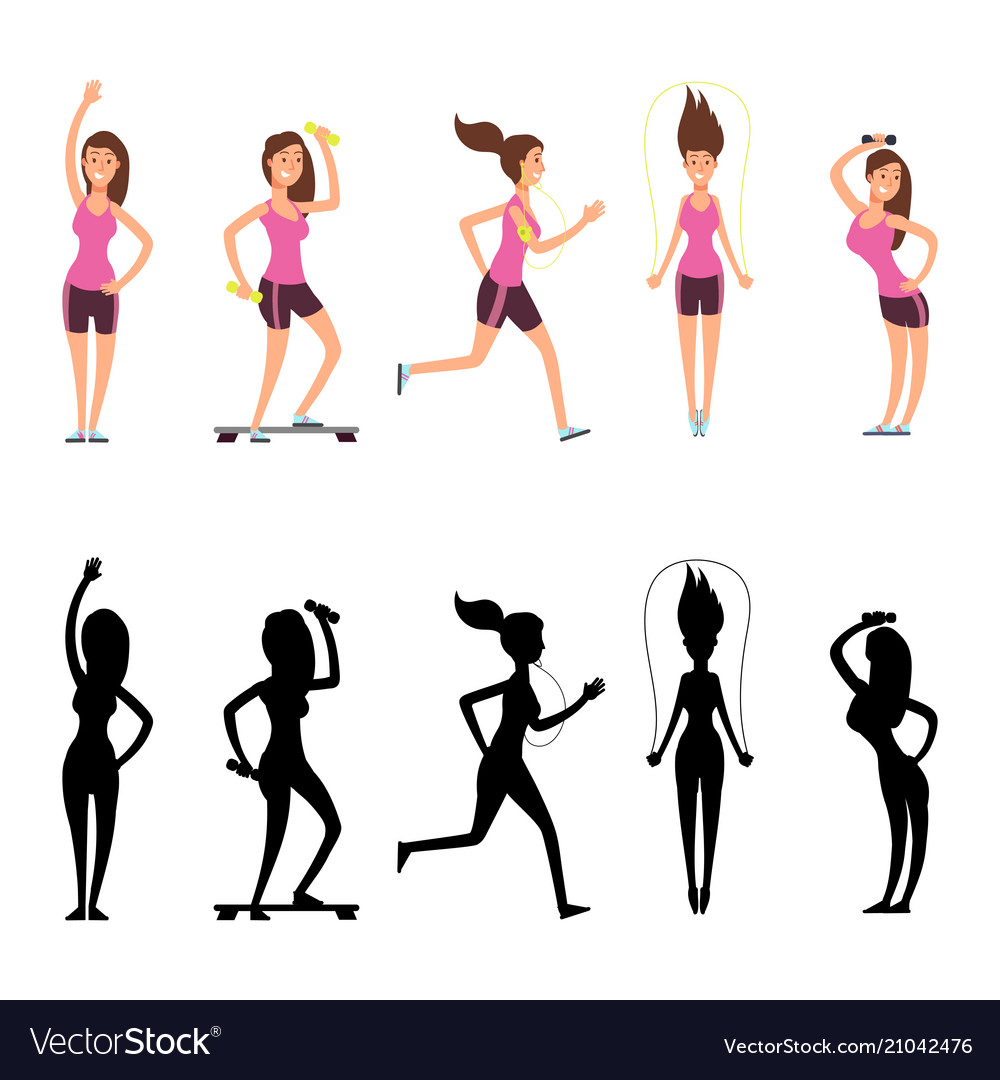 Sport woman characters female fitness