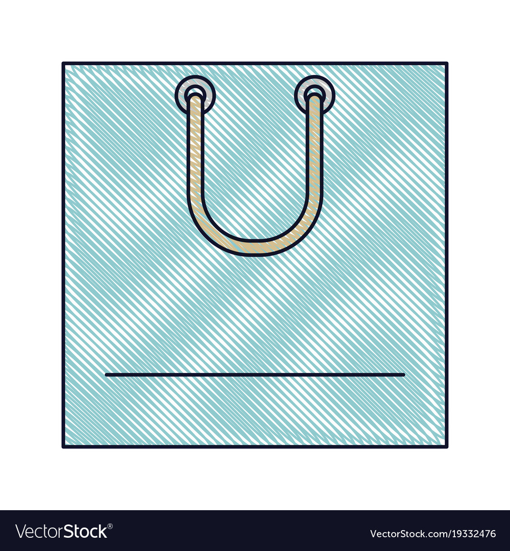 Square shopping bag icon with handle in colored