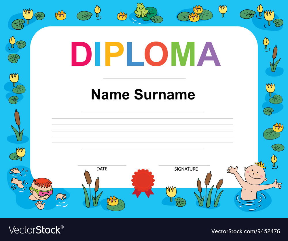 Swimming Award Certificate Template Royalty Free Vector