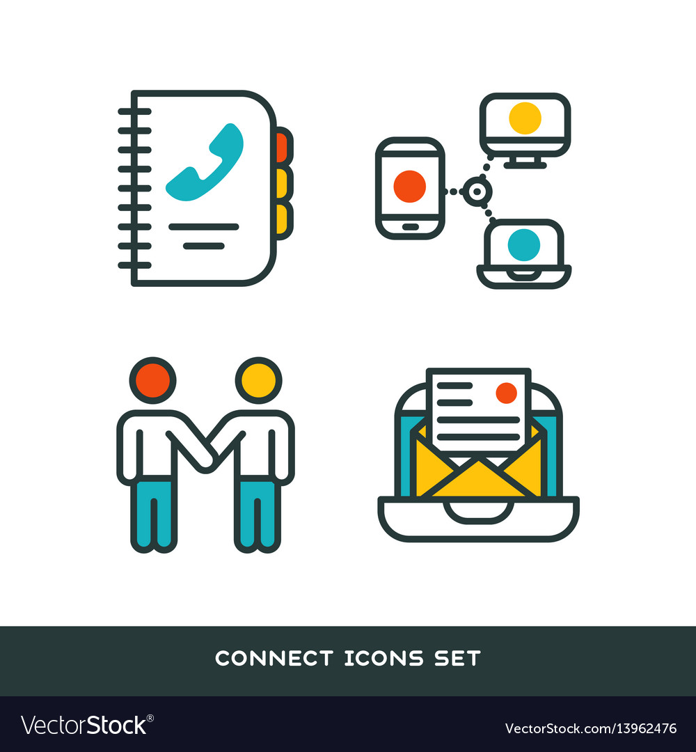 Thin lines connection icons outline set of big