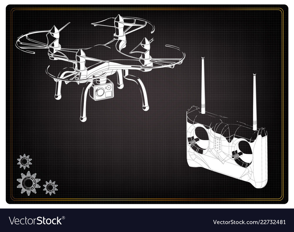 3d model of quadcopter and radio remote control