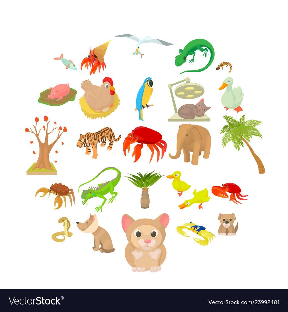 Animal shelter icons set cartoon style