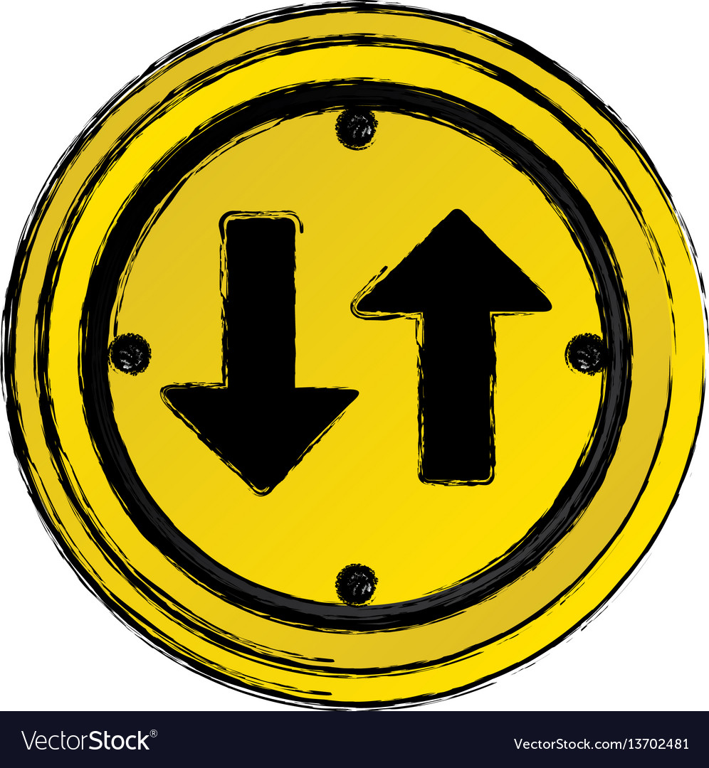 Around emblem sign with arrow