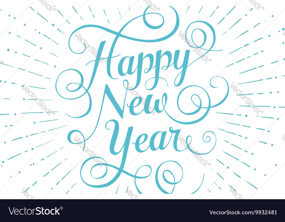 Blue lettering Happy New Year for greeting card on
