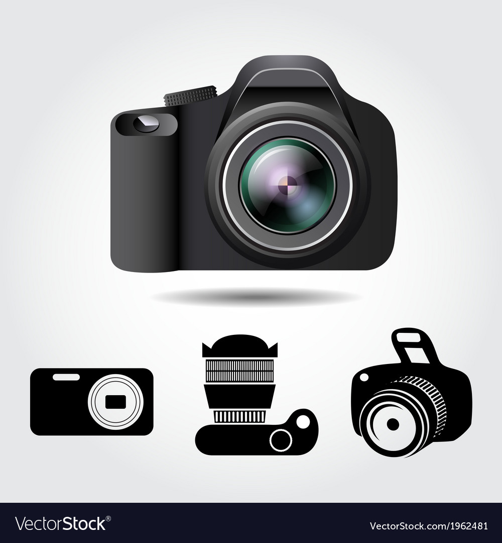 Camera and some icons on a white background