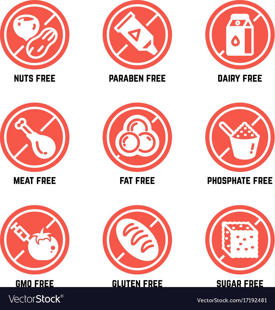 Food dietary symbols gmo free no gluten vector image