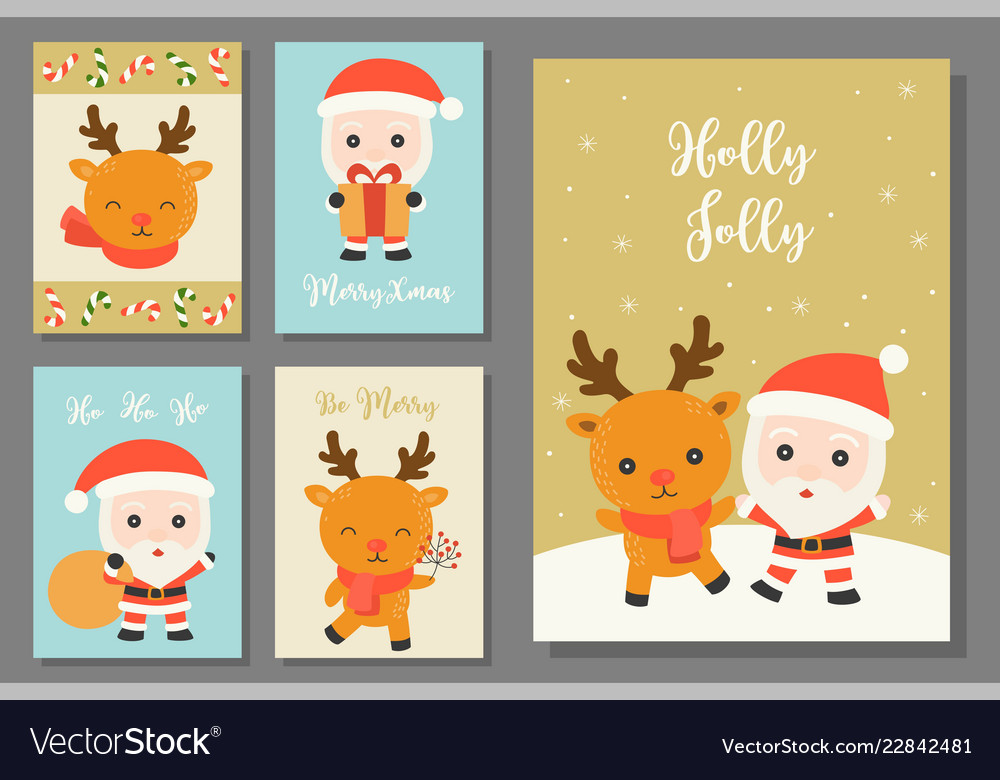 Greeting card hand drawn doodle christmas set
