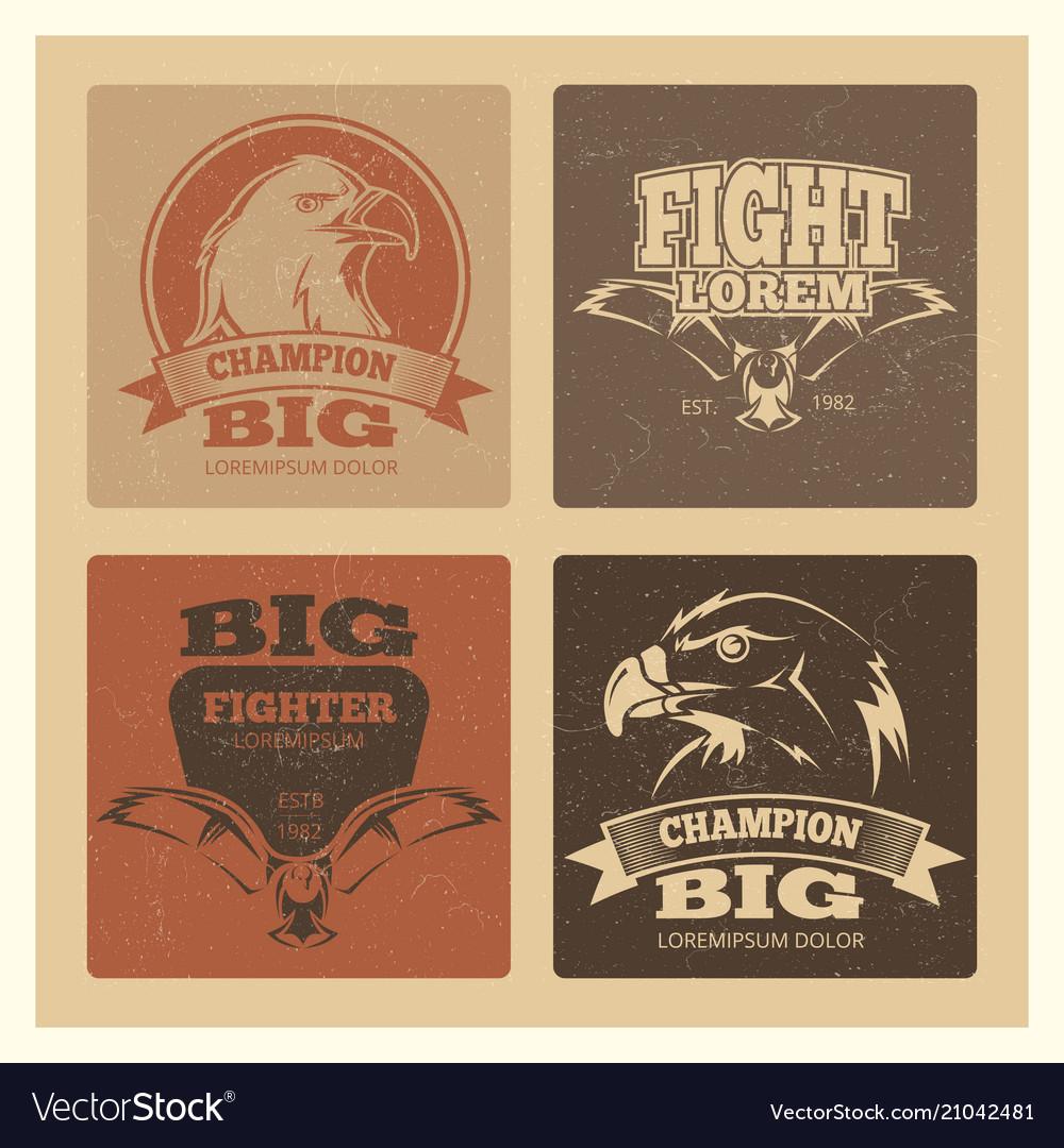 Grunge cards set with eagle logos and emblem
