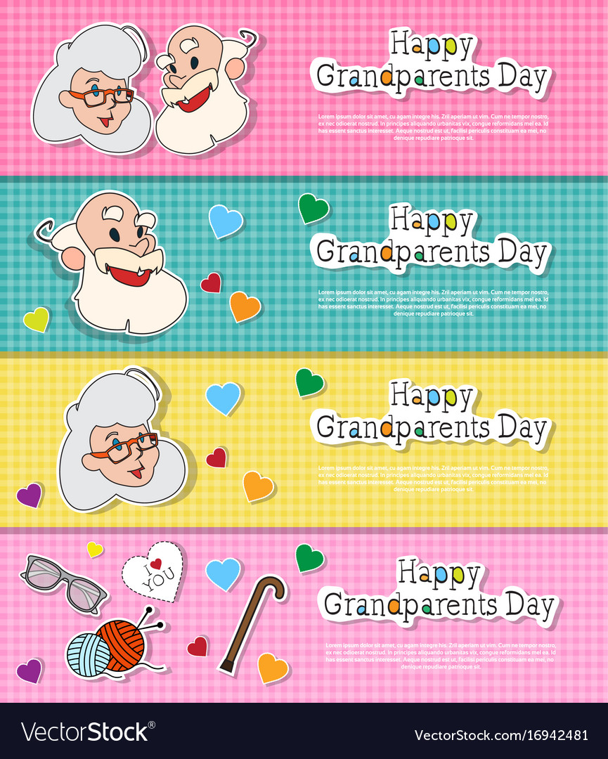 happy grandparents day greeting cards set colorful
