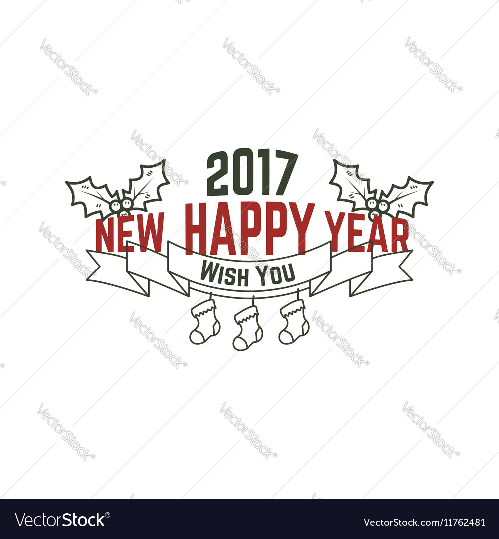 Happy New Year 2017 typography wish sign vector image