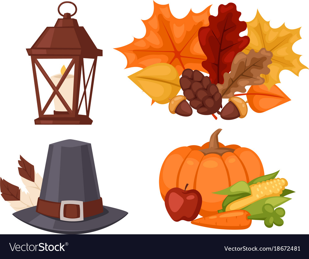Happy thanksgiving day design holiday objects