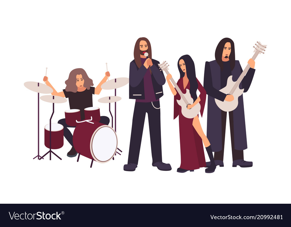 Heavy metal or gothic rock band performing on vector image