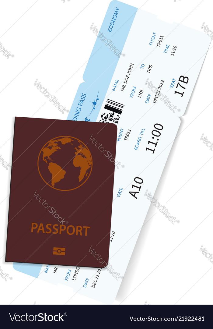 International passport with airline ticket inside