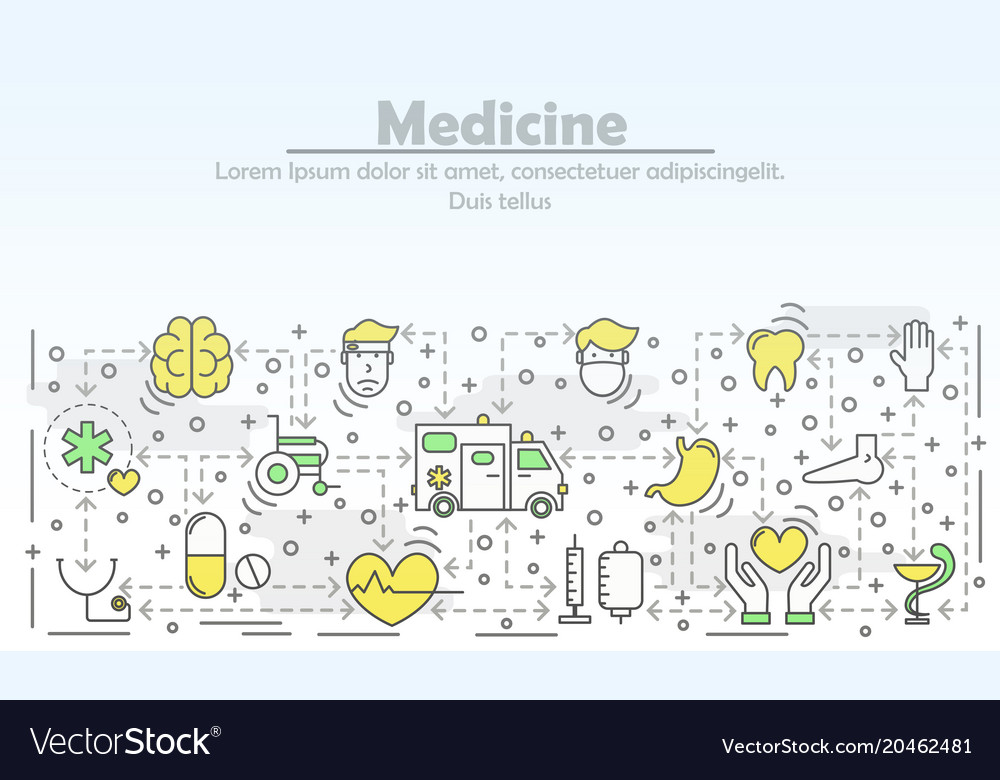 Medicine advertising flat line art