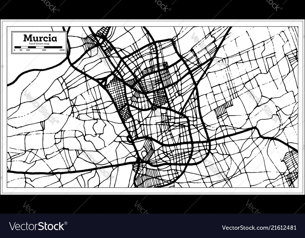 Murcia Map Of Spain.Murcia Spain City Map In Retro Style Outline Map