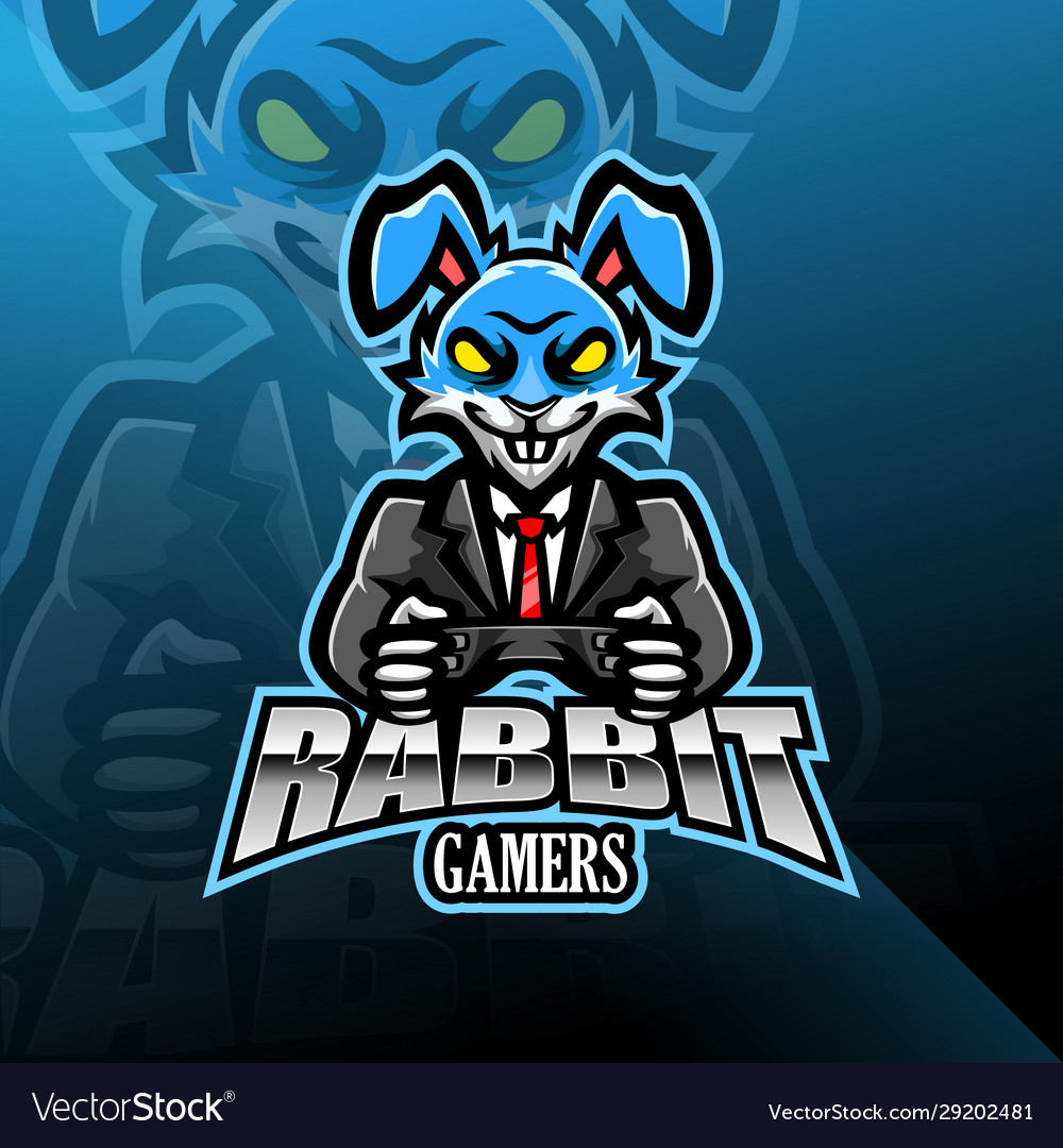 Rabbit esport mascot logo design
