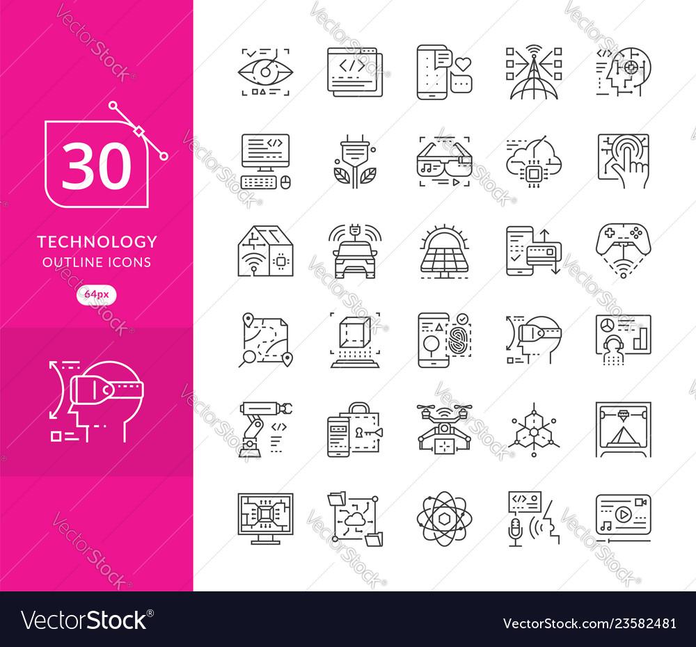 Set line icons in flat design future techno
