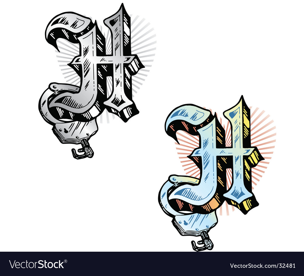 Tattoo letter H Royalty Free Vector Image   VectorStock