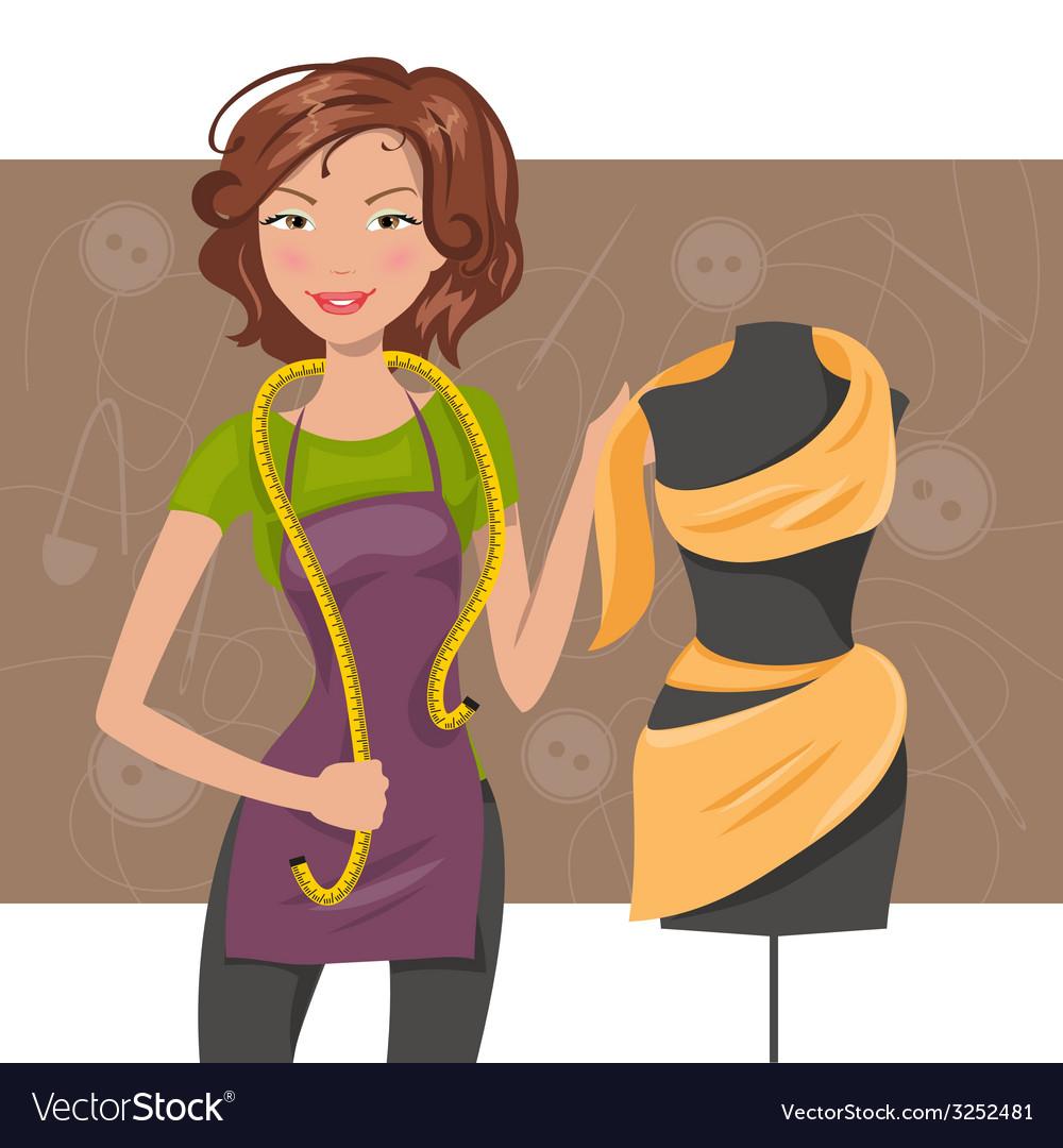 Woman seamstress near the manikin Dressmaker vector image