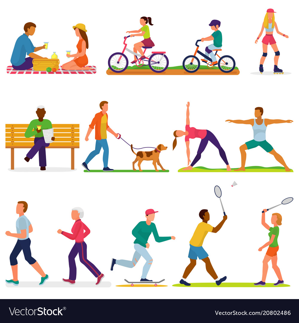 Active people woman or man character in