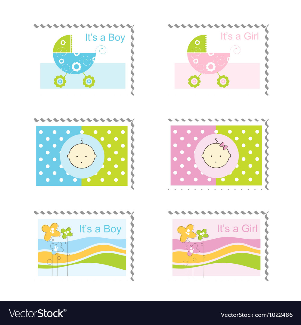 Superb Baby Shower Stamps Vector Image