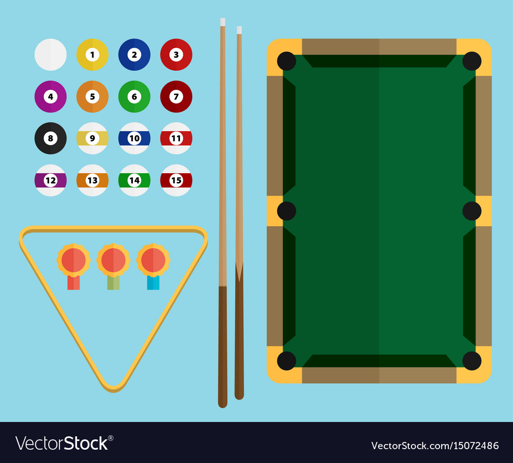 Billiards flat billiards pool game accessories vector image