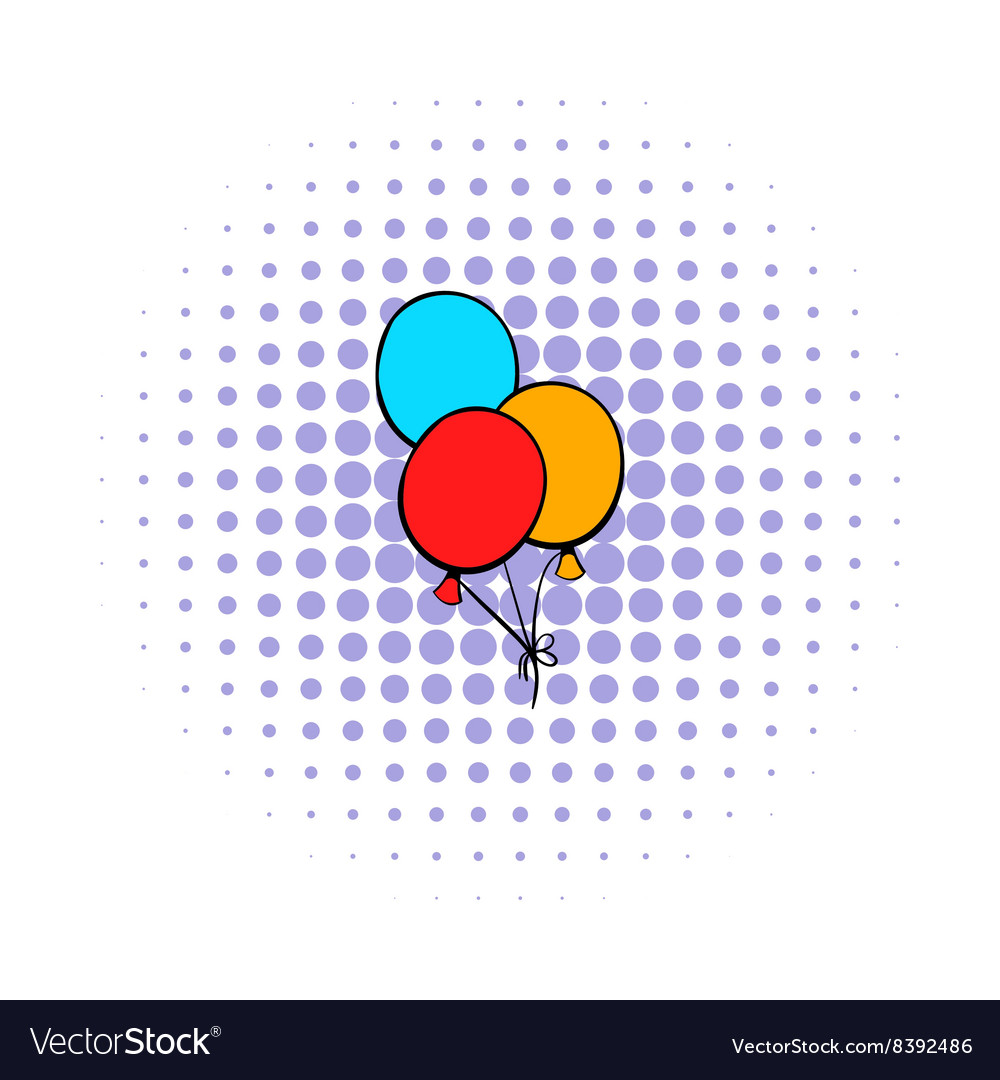 Bunch of colored baloons icon comics style