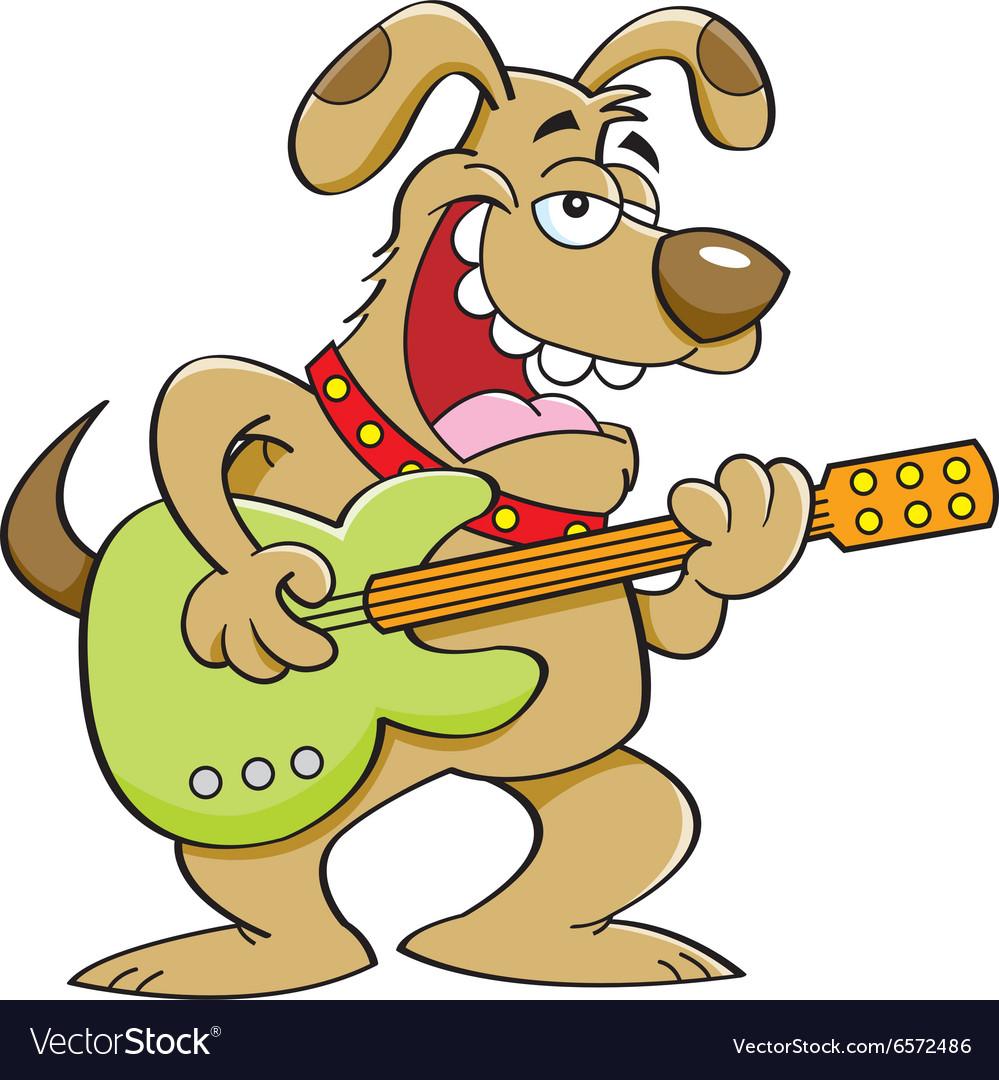 cartoon dog playing a guitar vector image