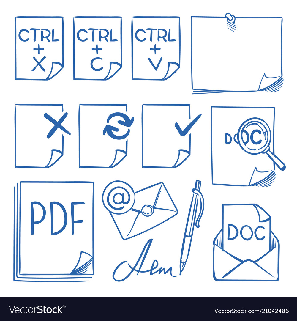 Doodle office paper icons with function