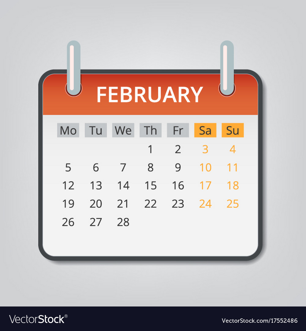 february 2018 calendar concept background cartoon vector image