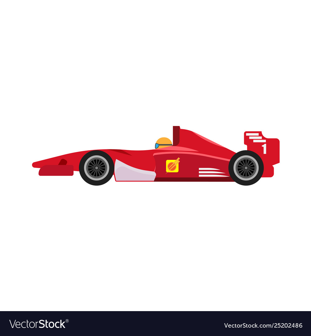 Formula 1 Red Racing Car Side View Icon Royalty Free Vector