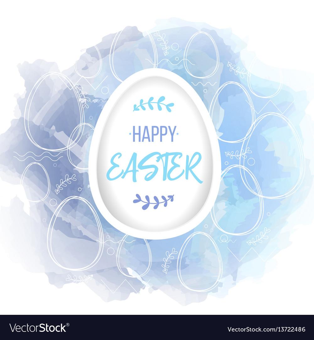 Happy easter lettering on white paper egg