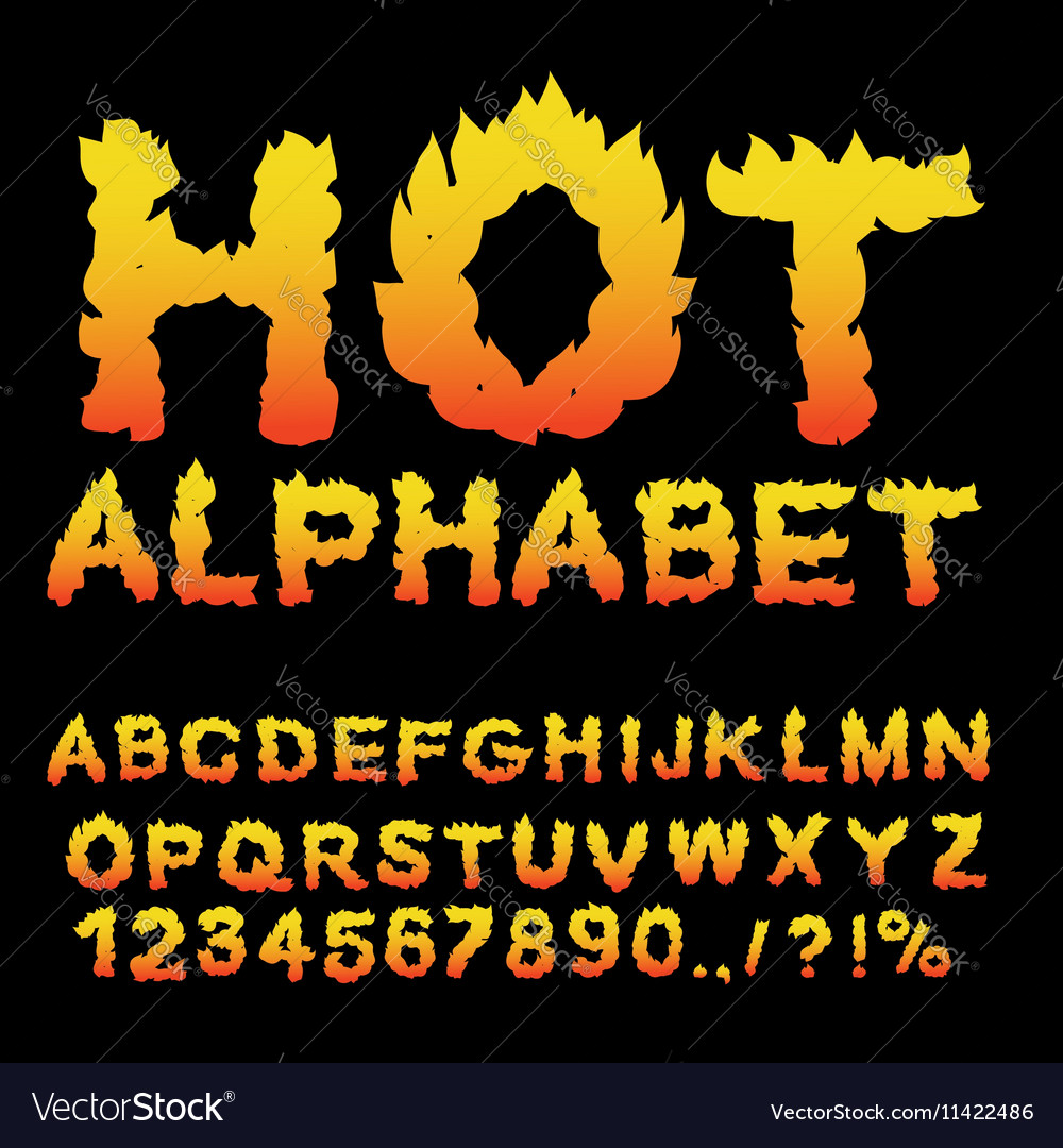 Hot Alphabet Flame font Fiery letters Burning ABC