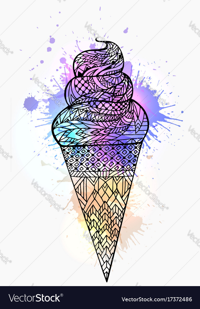 Ice cream cone with boho pattern and watercolor vector image