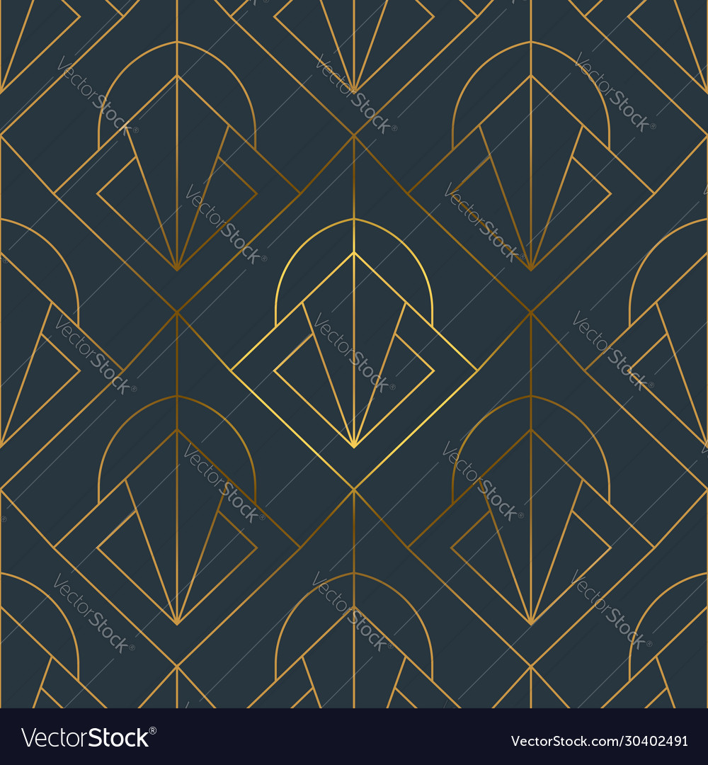 Abstract art deco gold black line seamless pattern