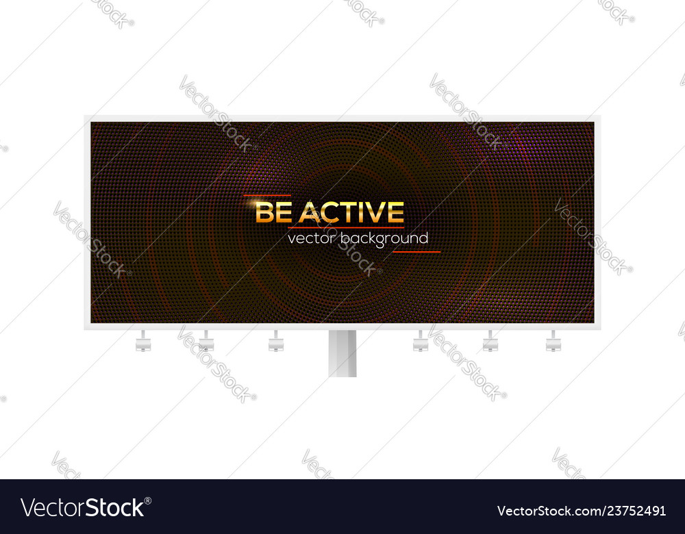 Billboard with design of shiny golden text be
