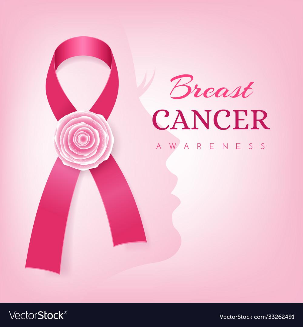 Breast cancer awareness card pink ribbon
